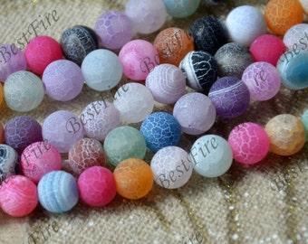 8mm Multicolor Matte Agate round nugget stone Beads,agate stone beads loose strands,agate beads finding,Nugget Gemstone Bead loose strands
