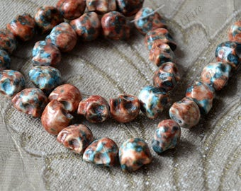 Orange flower skull stone nugget stone Beads,Skull stone beads loose strands, Gemstone Bead loose strands
