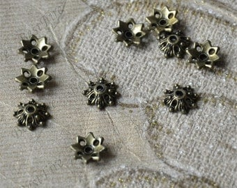 50 pcs of Antique bronze metal flower bead cups 9mm,beadcap findings,beads,findings beads