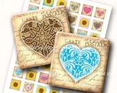 WINTER SALE 50% OFF Valentines Garden 1x1 inch size squares. Sunflowers and hearts Vintage digital Images jewelry, magnets, embellishments,