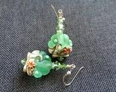 Scallop Lampwork Earrings, Green Drop Earrings, Seashell Ocean Earrings, Bead Earrings, Casual Beach Earrings, Lampwork Jewelry Gift for Her