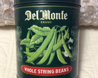 15% SALE Vintage DEL Monte Whole String Beans Tin Container Canister Americana Advertising Green