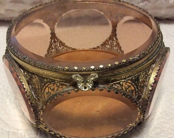CHRISTMAS SALE Rare Vintage Extra Large Gold and Peach Jewelry Casket Ormolu 6 Sided Beveled Glass Footed
