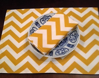 Cornflower Gold and White CHEVRON Custom Napkins