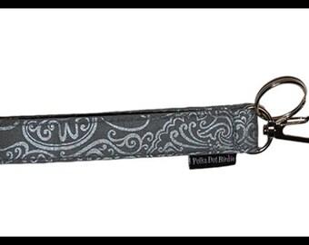 Grey Metallic Key Wristlet , Key Fob, Swivel Hook, Key Chain