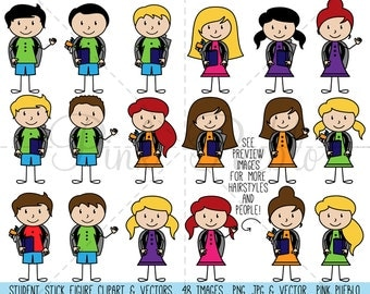 Student Stick Figure Clipart Clip Art, Stick People Clipart Clip Art, Stick Family Clip Art Clipart - Commercial and Personal Use