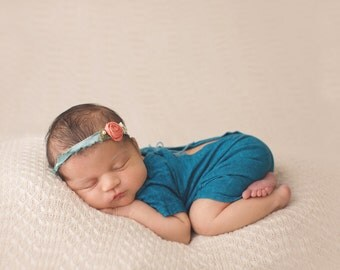 Dark Teal T-shirt Romper- Newborn Photography Romper Set