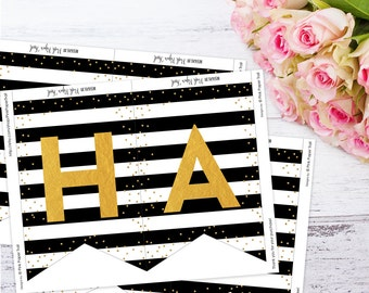 Black and White Stripes, Gold Glitter, Pink Floral Happy Birthday Banner, Instant Download, Print Your Own