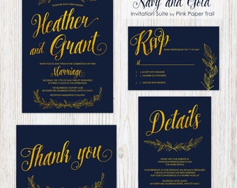 Printable Wedding Invitation Suite, Navy Blue and Gold Wreath Spring Summer Wedding Print Your Own Invitation