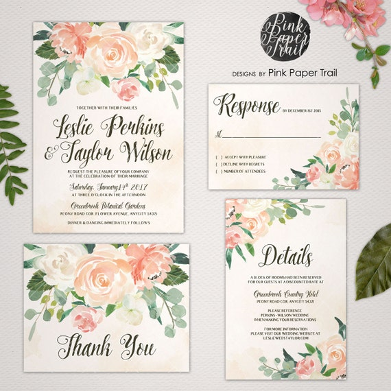 Printable Wedding Invitation Vintage Style in Peaches and