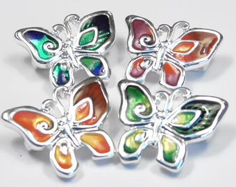 Four 2 Hole Slider Beads, Links Or Connector Beads Silver Plated Bright Multi Color Enamel Butterflies, Butterfly Beads Insect Beads Garden