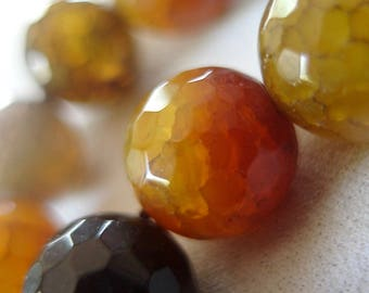 14mm Micro Faceted Orange Amber Yellow Gray Multi-tone Dragon Vein Round Beads, large 14mm, full strand, 15""
