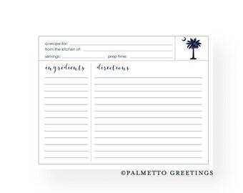 South Carolina Palmetto Moon Recipe Cards - Set of 12