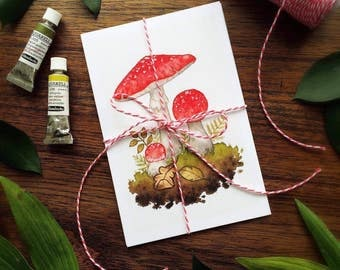 Set of 4 Watercolor Mushroom Mini Prints by Michelle Kent