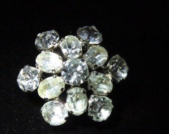 Crystal Rhinestone Brooch, Christmas Jewelry, Holiday Pin, Black Tie Affair, Prom, Bridal Wear, Made in Austria