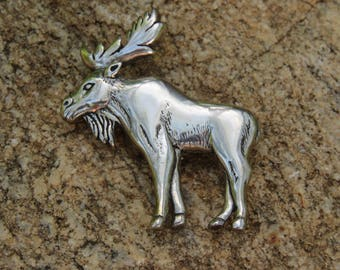Navajo Sterling Silver Moose Pin, Glenn & Irene Sandoval Jewelry, Native American, Wildlife Brooch, Nature Lover, Signed GS Sterling Vintage