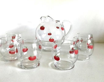Vintage Hand Painted Tomato Pitcher/Glass Set