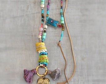 Sari Silk Beaded Necklace,  Tassel Ethnic Necklace,  Heart Bohemian Necklace,  Long Talisman Necklace,  Free Shipping