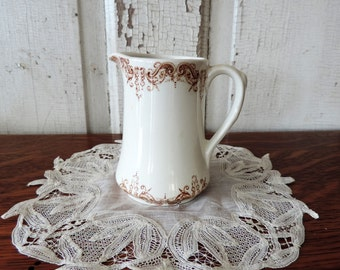 Antique Brown Transferware Creamer by Victoriana Royal Crownford Staffordshire England