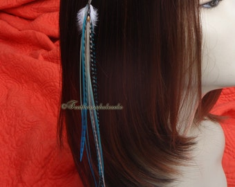 Aqua White Long Hair Feather Clip Extra Long Clip in Feather Extensions Exotic Ginger Creme Aqua Blue Feather Hair Accessory