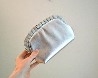 Sale 15% off Vintage Silver Clutch Evening Bag purse// Metallic Vintage Silver Wedding Bag// Metallic Evening Bag Silver Foil
