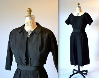 Sale 15% off Hold 1950s Vintage Black Dress Size Large and Black Jacket Large// Vintage 50s Party Black Dress Size Large With Cropped Jacket