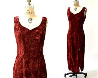 90s Party Prom Dress REd Crushed Velvet Large Burgundy Oxblood// 90s Vintage Red Velvet Evening Gown Long Dress Medium Large