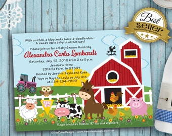 Girl baby shower invitations - Farm Animals - It is a Girl - Printable - Digital File