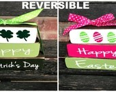 """SALE---St Patrick's Day & Easter """"MINI"""" stacker blocks-Happy St. Patrick's Day reverses with Hoppy Easter(bright)"""