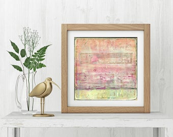 """Art Print, Abstract Print, Mixed Media print, Contemporary Art Print, Vintage Inspired, 8""""x8"""" or 12""""x12"""", Distressed Print, Pink, """"Aloof"""""""