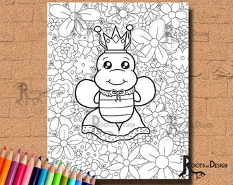 INSTANT DOWNLOAD Coloring Page - Queen Bee Print, doodle art, printable