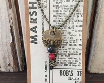 Vintage Key Necklace  | Charm Necklace | Wire Wrapped Jewelry | WINGS