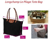 Purse Organizer fit with Longchamp Le Pliage Large Tote Bag / Made to order / Faux Suede Light Brown