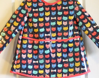Extra Long Girls Long Sleeved Art Smock with Kitties