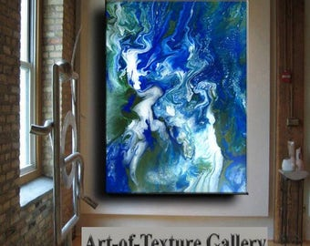 Resin Glass Large to Huge Original Abstract Modern Blue Green White Metal Silver Leaf Sculpture Knife Oil Painting by Je Hlobik