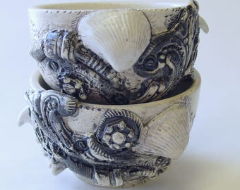 Two BioIndustrial Baroque Cups or Small Bowls