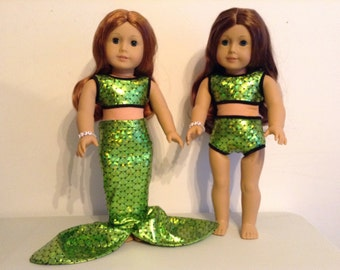 18 inch doll 3-piece mermaid out fit in green