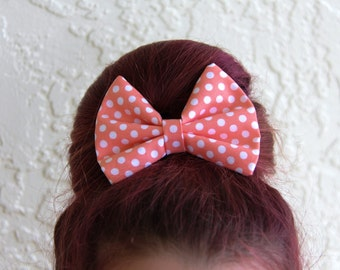 Orange Polka Dots Hair Bow Hair Clip Rockabilly Pin up Teen Woman Girl