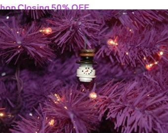 Shop Closing 50% OFF Snowman Head Button Christmas Tree Ornament with Brown Top Hat - Proceeds Benefit Cancer Research