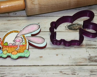 Bunny in a Basket Cookie Cutter and Fondant Cutter and Clay Cutter