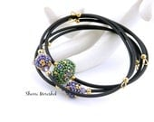 Sale Stacking Bangles reduced 30% - set of 3 handmade beaded bead memory wire bracelets