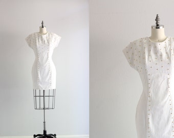 White Denim Dress . Studded Wiggle Dress . 80s Dress . 1980s Rocker Bodycon Dress