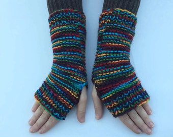 Hand Knitted Fingerless Rainbow Gloves -  Wristwarmers - Arm Warmers - Mittens - Mitts - Gift For Her under 25 Dollar - Vegan Friendly