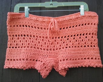 Crochet Lace Shorts - Women Boy Shorts - Open Weave Mesh Shorts - Summer Fashion - Beach Cover-Up - Vegan Friendly - All Colors Available