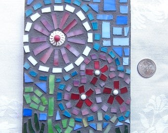 Wall Decor, Flowers, Mosaic, Original Art, Gift, Wedding, Shower, Wall Hanging, Nursery, Mosaic