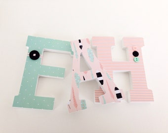 Teal & Pink Feather Custom Decorated Wooden Letters, Nursery Name Décor, Unisex Bedroom, Hanging Wood Wall Decorations, Birthday Baby