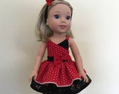 14.5 Inch Doll Clothes Ruffled Red Sundress with Leggings and Headband for dolls like Wellie Wishers