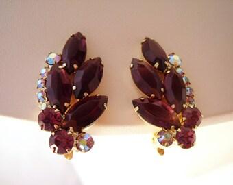 Amethyst colour rhinestone ear climber clip earrings