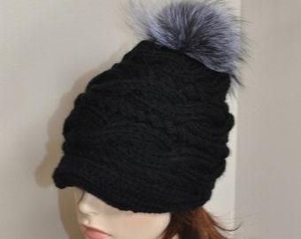 Fur Pompom Hat Visor Cap Brim Hat Pompom Beanie Hat Fur Pompom Hat Newsboy Hat CHOOSE COLOR Black Ski Women Hat Christmas Gift under 100