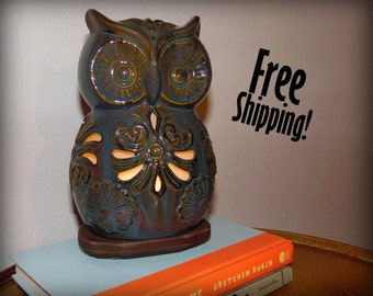 Teal & Brown Ceramic Owl Accent Lamp Night Light